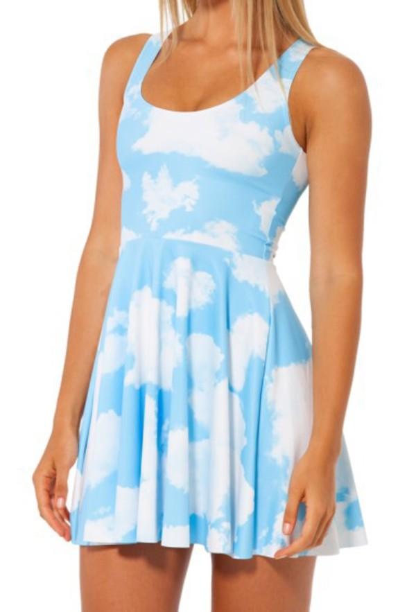 dress clouds blue light blue cute fashion style summer spring boogzel