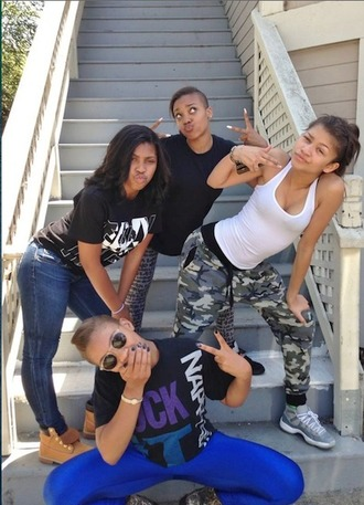 pants camouflage baggy pants joggers pants zendaya comfy shoes