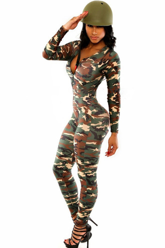 catsuit romper military style soldier long sleeves