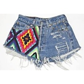 shorts,denim shorts,aztec,aztecshorts,colorful,colourful shorts,aztec shorts,studs,studded,denim