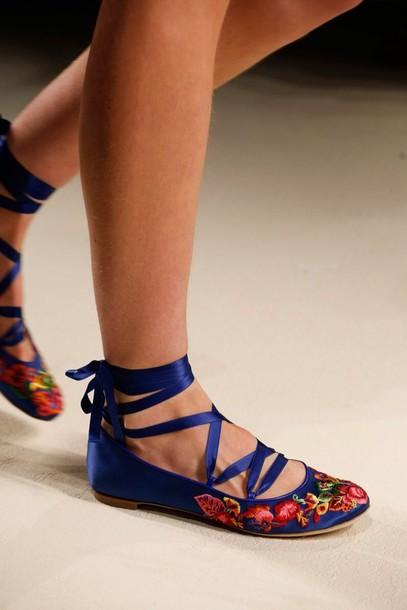 shoes blue ballet flats ballet flats floral flats
