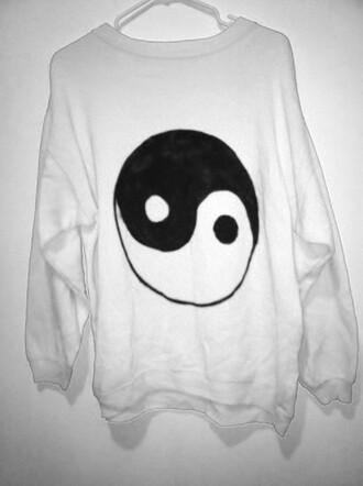 sweater yin yang yinyang white black tumblr hipster oversized sweater