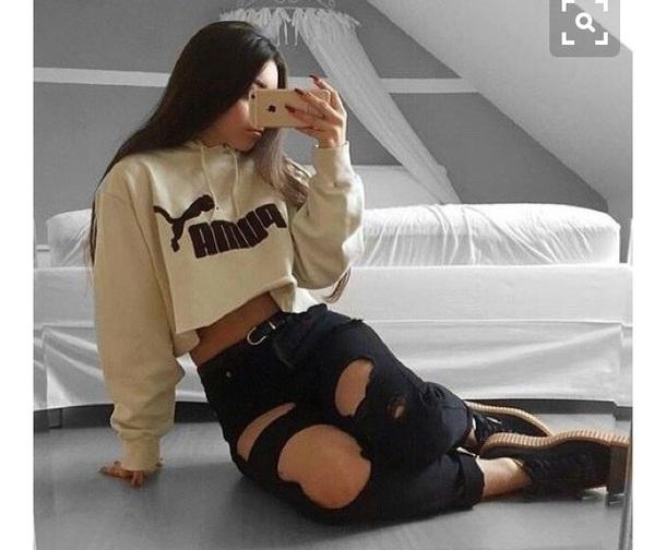 sweater cream beige hoodie crop tops hooded crop top puma clothes top pinterest shirt