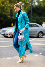 coat,fashion week street style,fashion week 2016,fashion week,london fashion week 2016,blue coat,long coat,printed coat,top,blue top,turtleneck,jeans,blue jeans,denim,boots,gold boots,high heels boots,thick heel,block heels,fall outfits,streetstyle,bag,printed bag,thick heel boots,shoes,tumblr,ankle boots,metallic,metallic shoes,sweater,blue sweater,turtleneck sweater