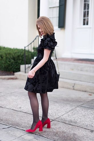 something delightful blogger dress shoes bag jewels tights black dress pumps studs spikes red heels cocktail dress