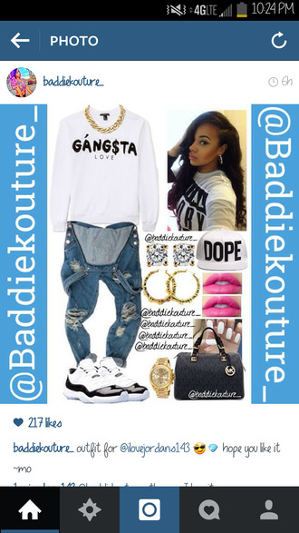 top gangsta dope baddiekouture_ crewneck outfit outfit idea jumper romper jeans jewels bag white sweater overalls hoop earrings gold watch michael kors pink lipstick