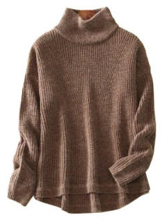 Brown high neck long sleeve knitted sweater