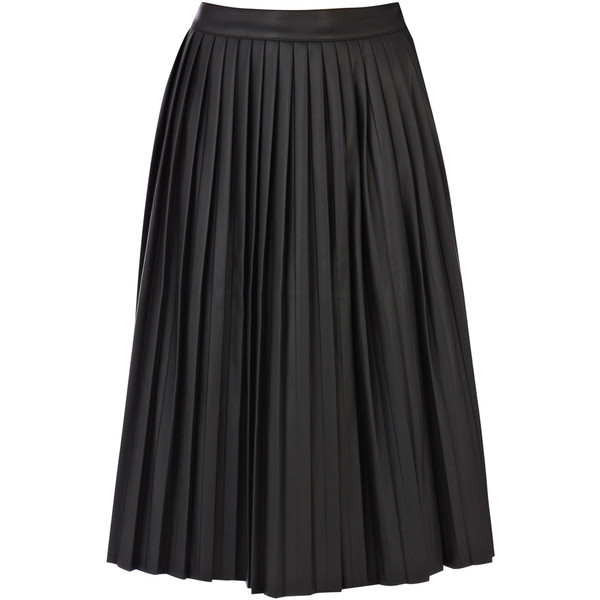 Warehouse Faux Leather Pleat Midi Skirt - Polyvore
