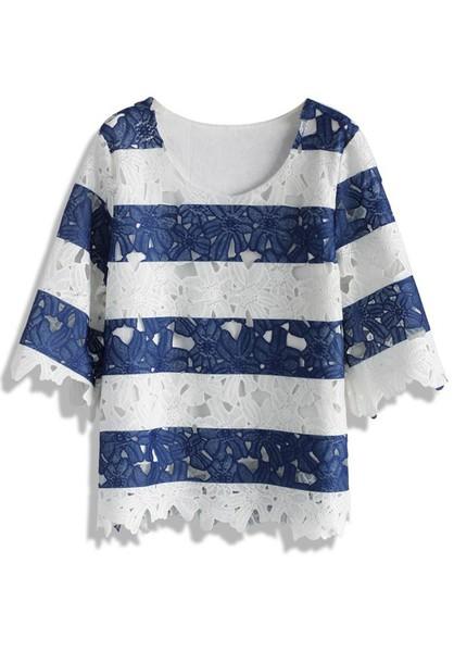 28d789e7a917 top, navy stripes full flower cut crochet top, chicwish, crochet top ...
