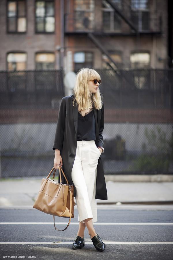 just another me pants tank top shoes bag jacket jewels black cami lace cami silk cami minimalist black top blogger