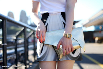 bag gold clutch clutch gold watch watch skirt mini skirt printed skirt