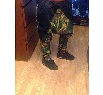 pants army military style men's drop crotch pants menswear low crotch