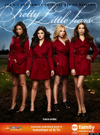 coat red red coat pretty little liars troian bellisario shay mitchell ashley benson lucy hale