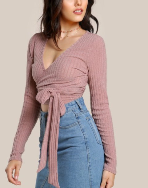 blouse girly pink crop tops crop long sleeves tie-front top