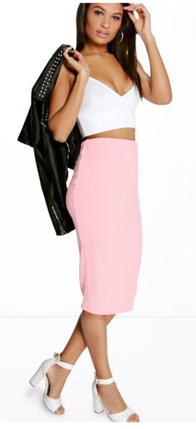 pink cute pastel baby pink the cherry blossom girl pencil skirt white top crop tops leather jacket white shoes white heels thick heel