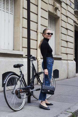 trini blogger sunglasses jeans bag jewels chanel bag ballet flats black top spring outfits