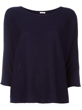 jumper women blue silk sweater