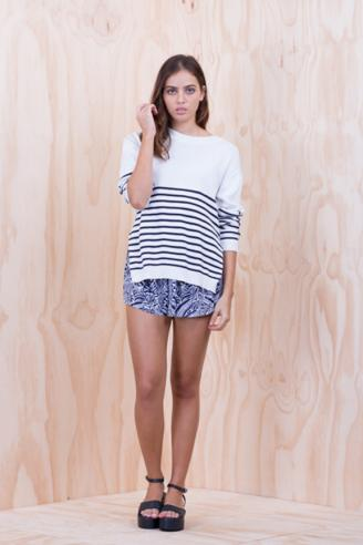 LILYA Sailor Knit Top - navy white