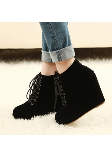 non slip wedge design black suede lace up ankle boots