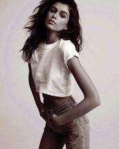 jeans,top,crop tops,kaia gerber,denim,model,editorial