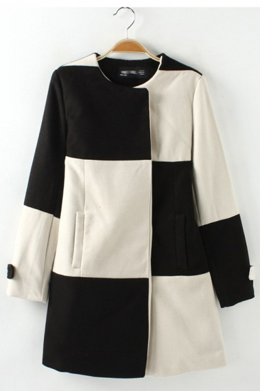 Black & White Grid Pattern Color Block Coat