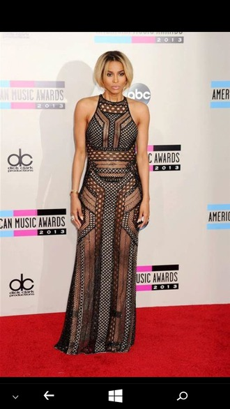 dress sheer black sheer dress black dress long dress ciara blonde hair american music awards fabulous amas 2015