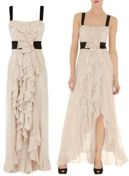 Dress long dress high low dress beige dress empire waist ruffled dress