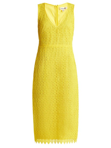 Diane Von Furstenberg dress midi dress midi lace yellow