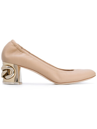 heel mid heel pumps maxi metal women pumps leather nude shoes