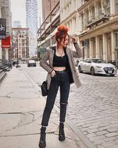 jacket,blazer,check blazer,black jeans,ripped jeans,boots,high waisted jeans,belt,crop tops