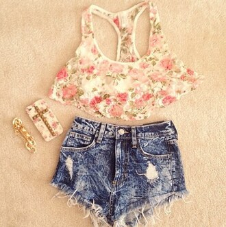 tank top top crop jeans high waisted iphone 4s phone cover cross flowers blouse instagram cute outfits summer outfits shorts floral floral tank top crop tops