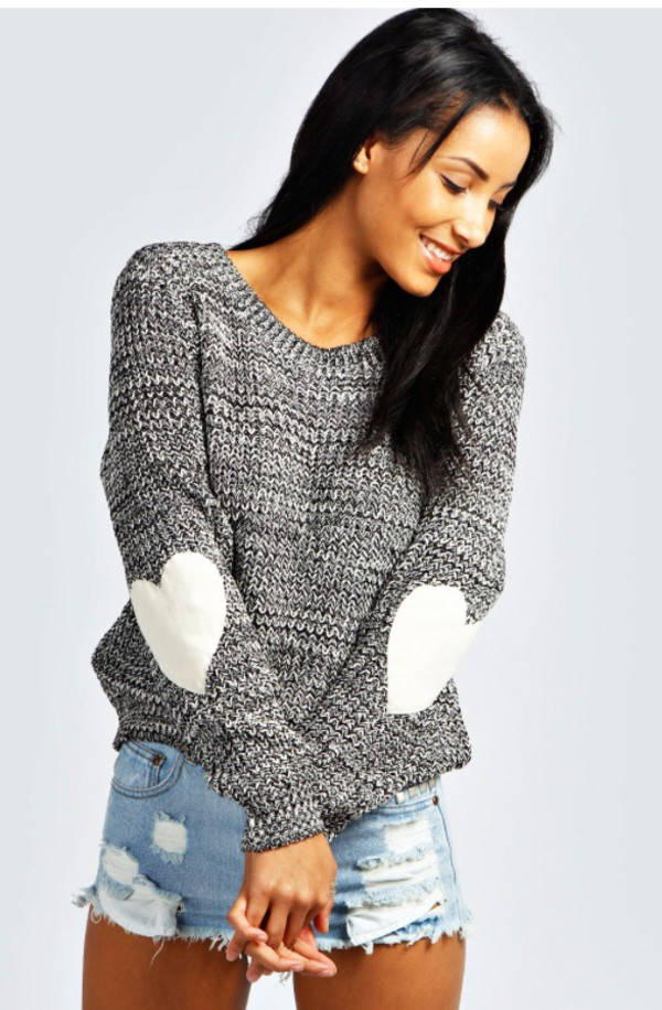 heart knitted sweater sewn elbows elbow patches