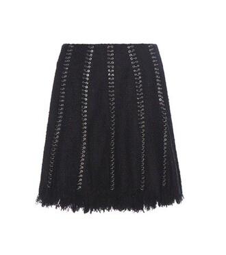 skirt embellished cotton black