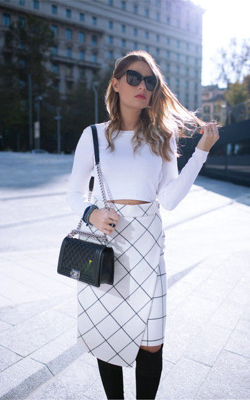 midi skirt blogger jewels crop tops bag the fashion fruit checkered