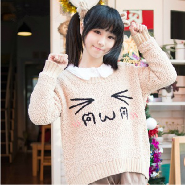 Sweater Kawaii Cute Top Fall Outfits Winter Outfits Fashion Style Gyaru Pink Girly