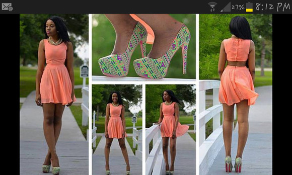 shoes dress peach fit and flare sleeveless buttoned back cutout dress