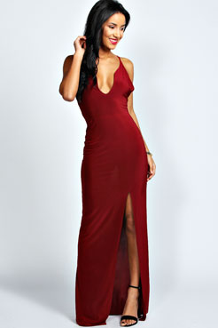 Sophie Plunge Neck Front Split Maxi Dress at boohoo.com