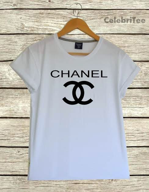 Popular logo shirt  in white women men printed by celebritee