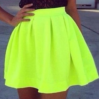 skirt neon lime green flare skirt.