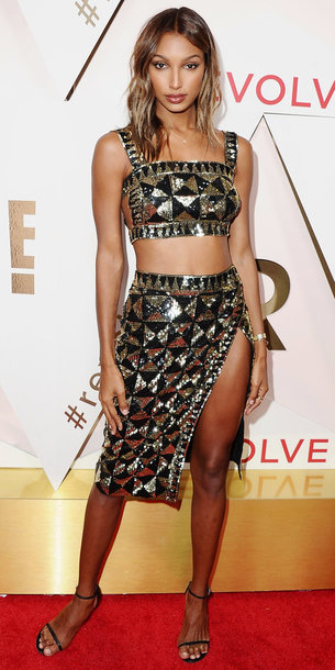skirt top bralette crop tops slit skirt sandals jasmine tookes metallic