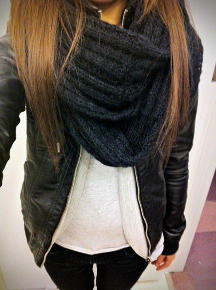 scarf jacket jeans black jeans leather jacket black scarf black jacket layer t-shirt black cloth inside