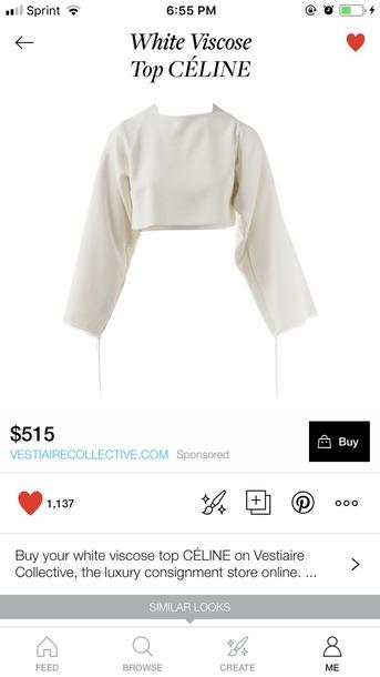 blouse white celine long sleeves crop tops