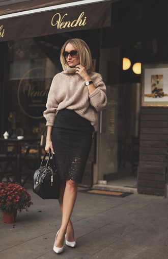 blogger skirt bag jewels sunglasses knitted sweater camel lace skirt pencil skirt stilettos