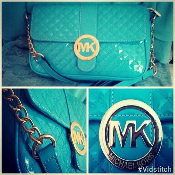 bag baby blue michael kors purse cute