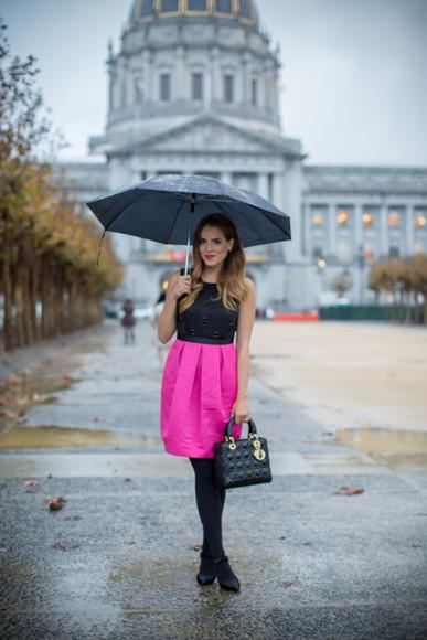 blogger pink dress gal meets glam bag umbrella