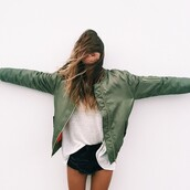 coat,green,jacket,girl,bomber jacket,khaki bomber jacket,orange,military style,blouse,leather,leather jacket,shorts,black,black shorts,shirt,top,thin,skinny,adidas,nike