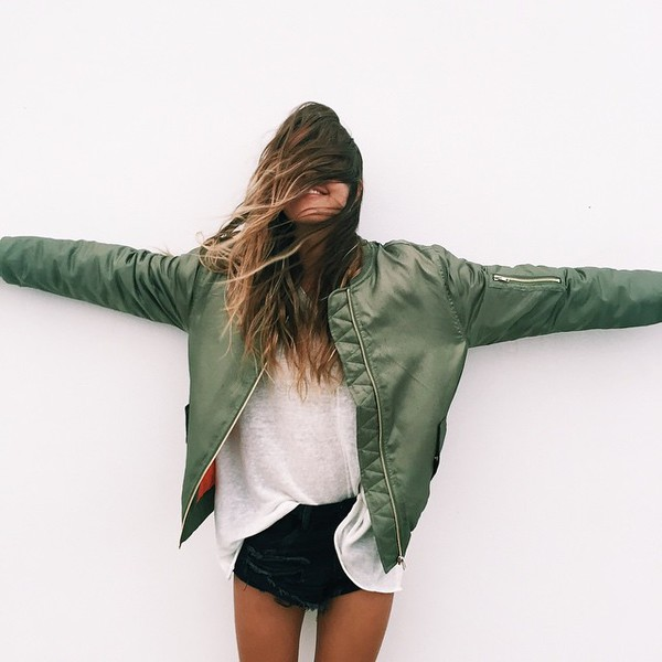 coat green jacket girl bomber jacket khaki bomber jacket orange military style blouse leather leather jacket shorts black black shorts shirt top thin skinny adidas nike