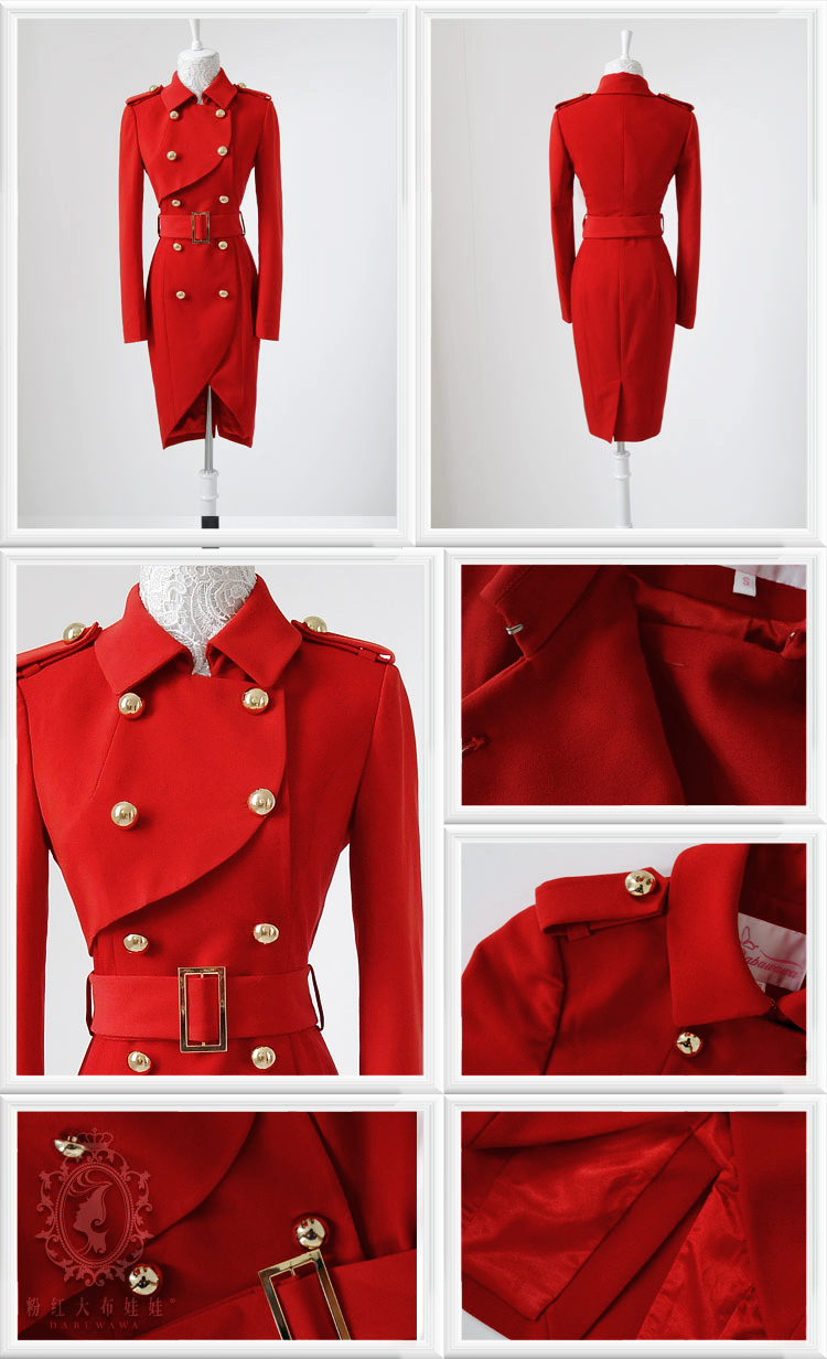 Vintage women golden button parka double breasted tulip red trench coat dress