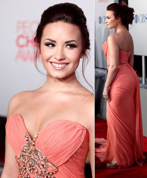 dress peach demi lovato prom long