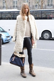 coat,jacket,fur,faux,white,long,fluffy,fuzzy coat,winter swag,white fluffy coat,shoes,anna selezneva